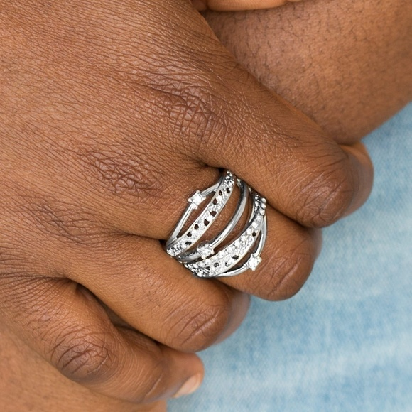 paparazzi Jewelry - Making The World Sparkle - White Stretchy Ring